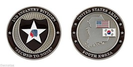 "ARMY SOUTH KOREA 2ND INFANTRY DIVISION SECOND TO NONE 1.75"" CHALLENGE COIN - $17.14"