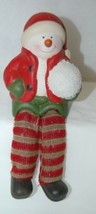 Generic Snowman Shelf Sitter Kid Style Holding Snowball 4 Inches 2 Set image 2