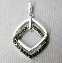 "Sterling SILVER Modern Black stones interlocking Pendant 1.0"" - $17.31"