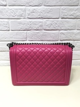 AUTHENTIC CHANEL FUCHSIA PINK QUILTED LAMBSKIN LARGE BOY FLAP BAG RECEIPT RHW image 2