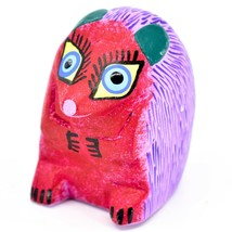 Handmade Alebrijes Oaxacan Copal Wood Carved Painted Folk Art Hedgehog Figurine