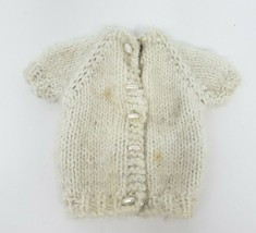 VINTAGE BARBIE CLOTHING TOP SHIRT KNITTED WHITE BUTTON UP SWEATER SHINY ... - $11.30