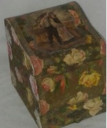 Antique Victorian Collar Box Wooden With Drawer Raised Decor Paper Flowers - $65.99