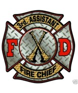 """3rd ASSISTANT FIRE CHIEF Highly Reflective DIAMOND PLATE DECAL - 2"""" x 2"""" - $1.97"""