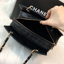 AUTHENTIC CHANEL QUILTED CAVIAR PST PETITE SHOPPING TOTE BAG BLACK SHW RECEIPT image 9