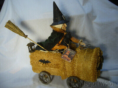 Bethany Lowe Halloween Witch Riding a Sponge Car & Black Cat no. T4032