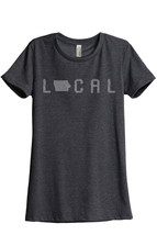 Thread Tank Local Iowa State Women's Relaxed T-Shirt Tee Charcoal Grey - $24.99+