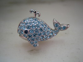 AUTHENTIC SWAROVSKI SILVER TONE & BLUE CRYSTALS WHALE PIN or BROOCH - $50.00