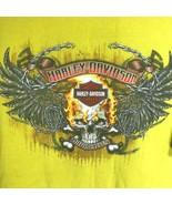 Harley Davidson Yellow T Shirt Skull Wings Flames Chains Daytona Beach Large - $29.69