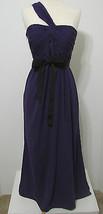 Vera Wang White Purple Cross One Shoulder Ruched Black Ribbon Trim Gown ... - $134.99