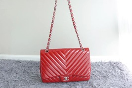 RARE AUTH Chanel Red Chevron Quilted Patent Maxi Classic Single Flap Bag SHW