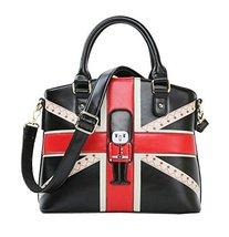 Fashion Cartoon PU Tote Handbag Shoulder Bag Messenger Bag Prince BLACK