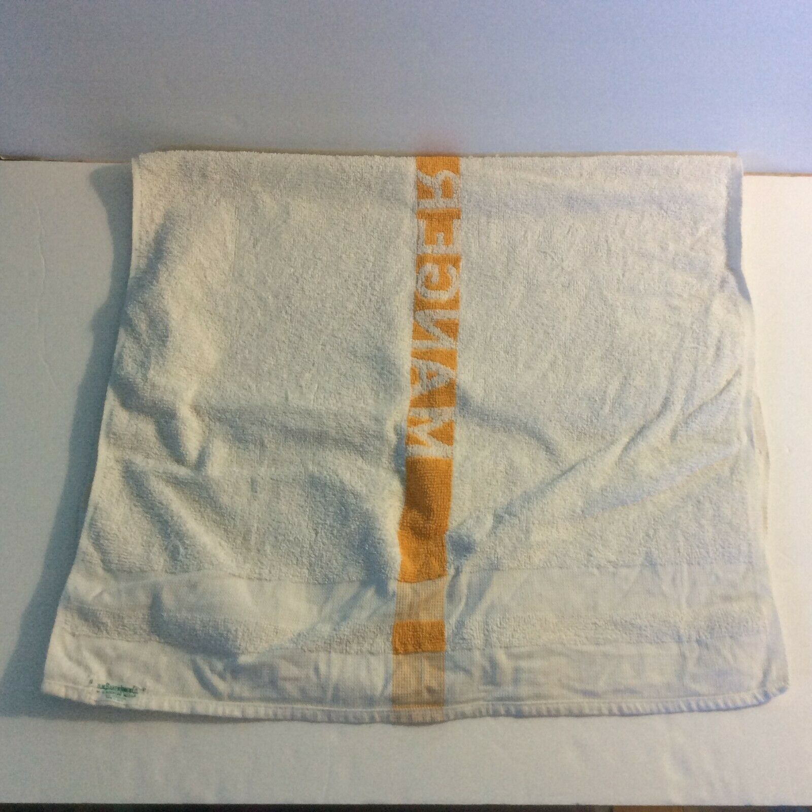 Manger Hotels Bath Towel White Orange 100% Cotton HW Baker Linen Co Cannon Mills image 5