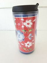 STARBUCKS 8 oz FLOWERS ON RED TUMBLER  FLIP LID 2003  - $14.03