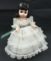 Vintage Madame Alexander SCARLETT O'HARA Doll White Ribbon Dress & Stand - $30.00