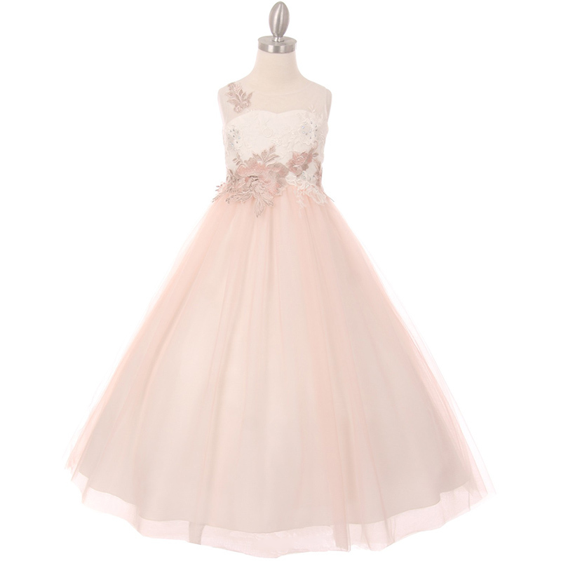 Primary image for Ivory Rose Illusion A-Line Girl Dress Decorated with Flower Lurex Embellishment