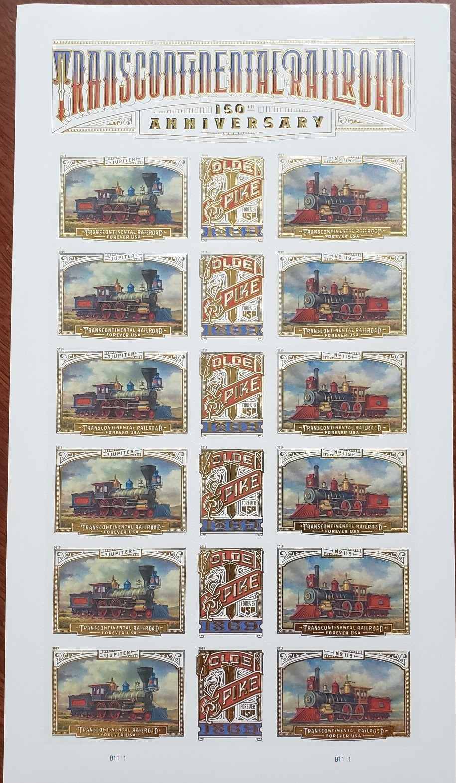 Transcontinental Railroad 150 Anniversary 2019 USPS 18 Forever Stamps Sheet
