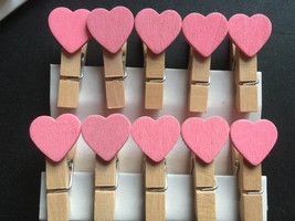 30pcs Pink Heart Wedding Party Favors,Wooden Clip,wooden pegs,Pin Clothe... - £3.12 GBP