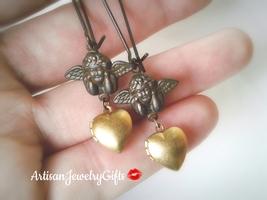 Cupid Earrings Tiny Heart Locket Earrings Angel Earrings Tiny Locket Ear... - $48.00