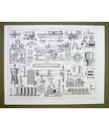 WOOL Processing Machinery Mule Yarn Willow Scales - 1844 SUPERB Print En... - $18.36