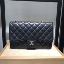 AUTHENTIC CHANEL BLACK CAVIAR QUILTED JUMBO CLASSIC FLAP BAG SILVER HARDWARE