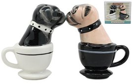 Ebros Black And Fawn Miniature Teacup Pugs Salt And Pepper Shakers Ceram... - $14.84