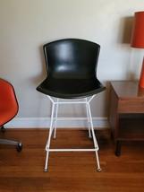 Vintage Harry Bertoia Knoll black fiberglass tall Bar stool black & whit... - $373.99