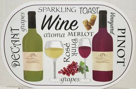 """Set of 4 Vinyl Non Clear Oval Placemats (18""""x12"""") WINE & GRAPES, WINE TY... - $16.82"""
