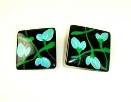 Clip Earrings Plastic Hand painted Floral Flowers Mod Funky Boho  vtg   - $4.94