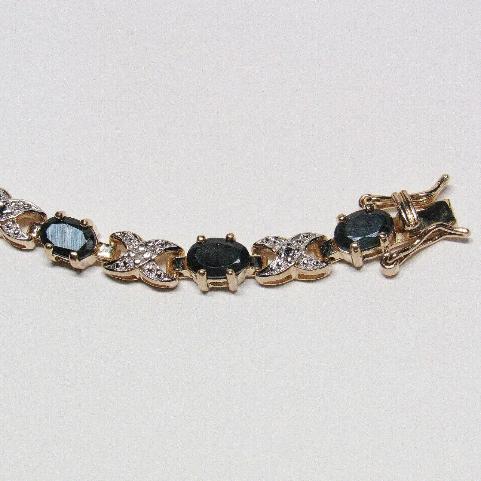 "HSN Technibond Gold Sterling Silver Sapphire Diamond Gemstone Tennis 7"" Bracelet image 3"