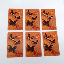 Set of 6 Butterfly Playing Cards for crafting collage repurpose upcycle trading  image 1