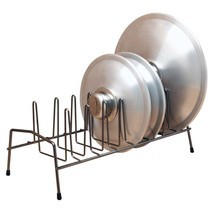 Black Steel 7-Slot Pot Pan Lid Holder Rack Kitc... - $33.65