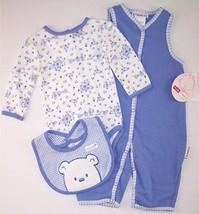 NWT Vitamins Girl's Lavender Blue Teddy Bear Floral Layette Set w/ FLAWS... - $8.41