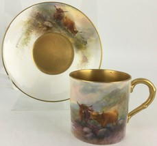 Royal Worcester Highland Cattle Demitasse cup & saucer Harry Stinton signature - $499.00