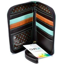 Chala Handbags Faux Leather Whimsical Ladybug Teal Zip Around Wristlet Wallet image 3