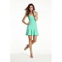 GUESS LOS ANGELES Green Pop BANDAGE Cut-Out DRESS Ruffled Hem MIRAGE M F... - $96.32