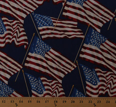American Flags Patriotic Fourth of July USA Blue Cotton Fabric Print BTY... - $11.95