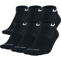 NEW Nike Dri Fit Dry Fit Cotton Black Low Cut Socks 6 Pair L 8-12 SX4447... - $22.00