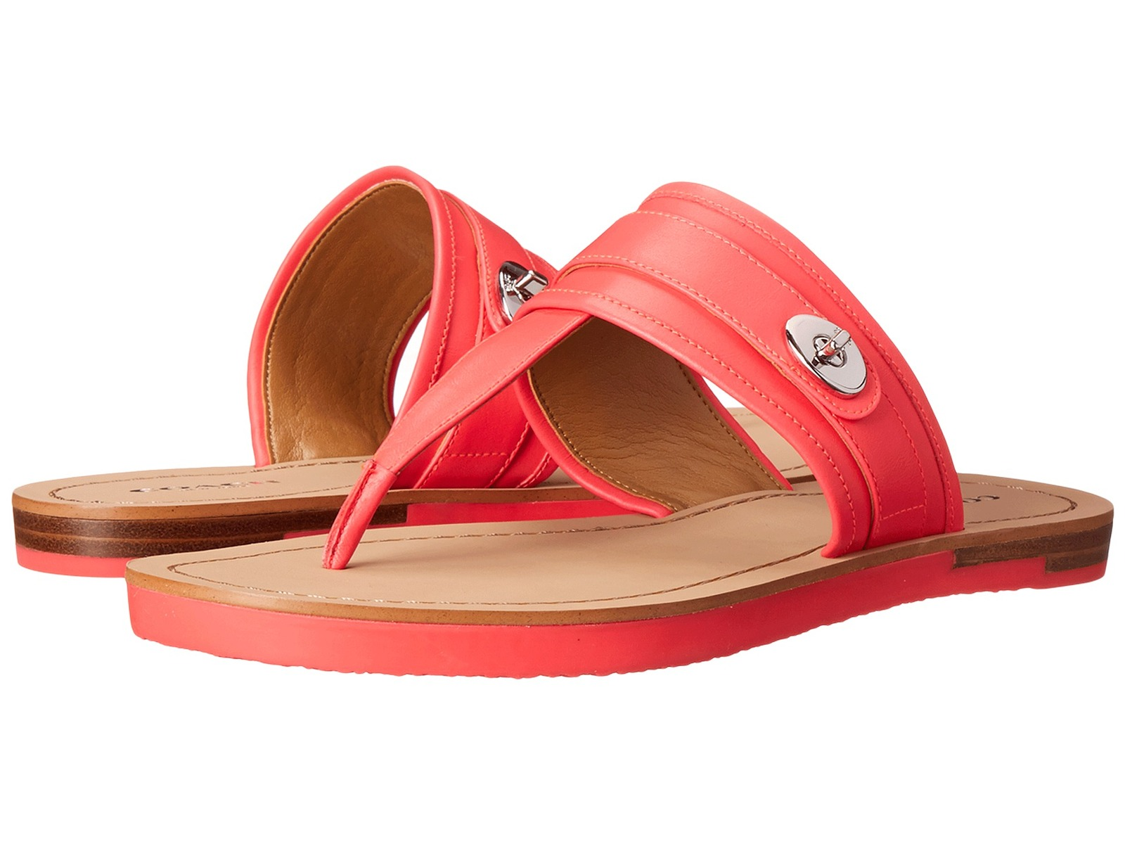 COACH Eileen  Leather Fluo Pink  Sandals, Sz 10