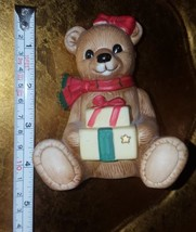 "Vintage Teddy Bear w Christmas Gifts Porcelain Figurine by Homco pre-owned 4.5"" - $14.92"