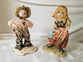 Capodimonte Pair Cute Peasant Girls Hand Painted Figurines Curls Vintage Italy - $85.45
