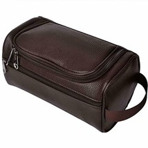 Mens Leather Travel Toiletry Bag Shaving Grooming Accessory Tool Kit Org... - $16.12