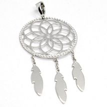 18K WHITE GOLD DREAMCATCHER PENDANT, FEATHER, MADE IN ITALY, 1.8 INCHES, 45 MM image 3