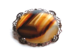ANTIQUE VICTORIAN STERLING SILVER MOSS AGATE PIN # 3 - $31.18