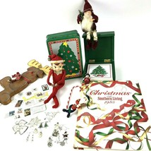 Mixed Lot of Vtg Christmas items Elf Ornaments Jewelry Stamps Book Tin k... - $19.79