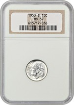 1953-S 10c NGC MS67 - Roosevelt Dime - $58.20