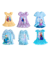 Disney Store Frozen Elsa Anna Olaf Nightshirt Sleepwear Girls Blue New - $44.95