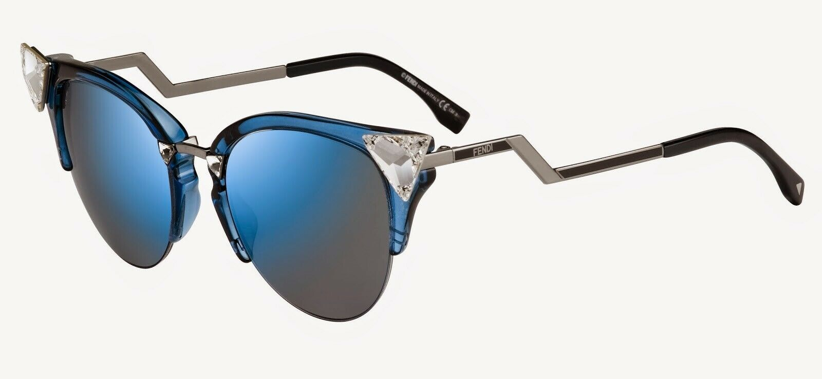Primary image for FENDI IRIDIA FF 0042/S 9FB Ruthenium Grey Blue Cat Eye Crystal-Tip Sunglasses