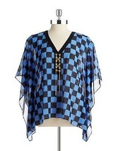 MICHAEL Michael Kors Lace-Up Poncho Oxford Blue & Black ( Sm/Med ) NWT $... - $43.01