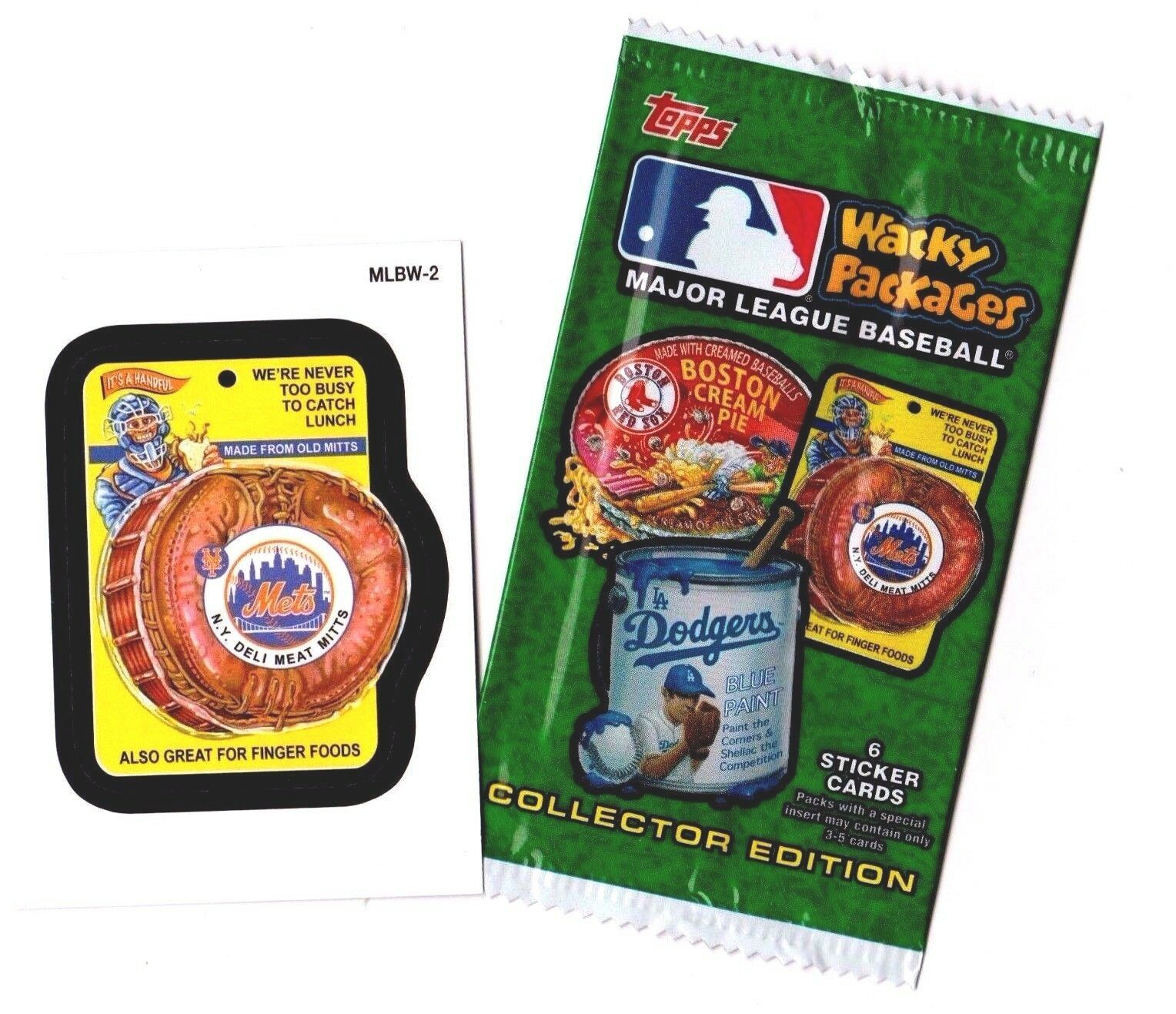 """2016 Wacky Packages Baseball Series 1 """"NY METS DELI MITTS"""" Promo Sticker MLBW-2"""